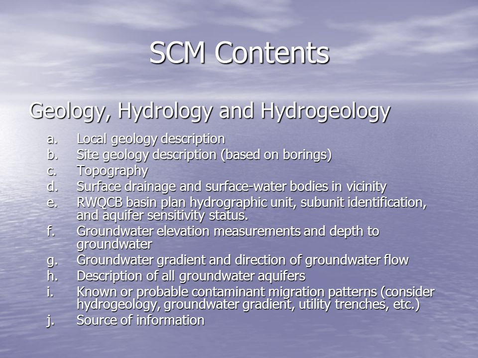 SCM Contents Geology, Hydrology and Hydrogeology
