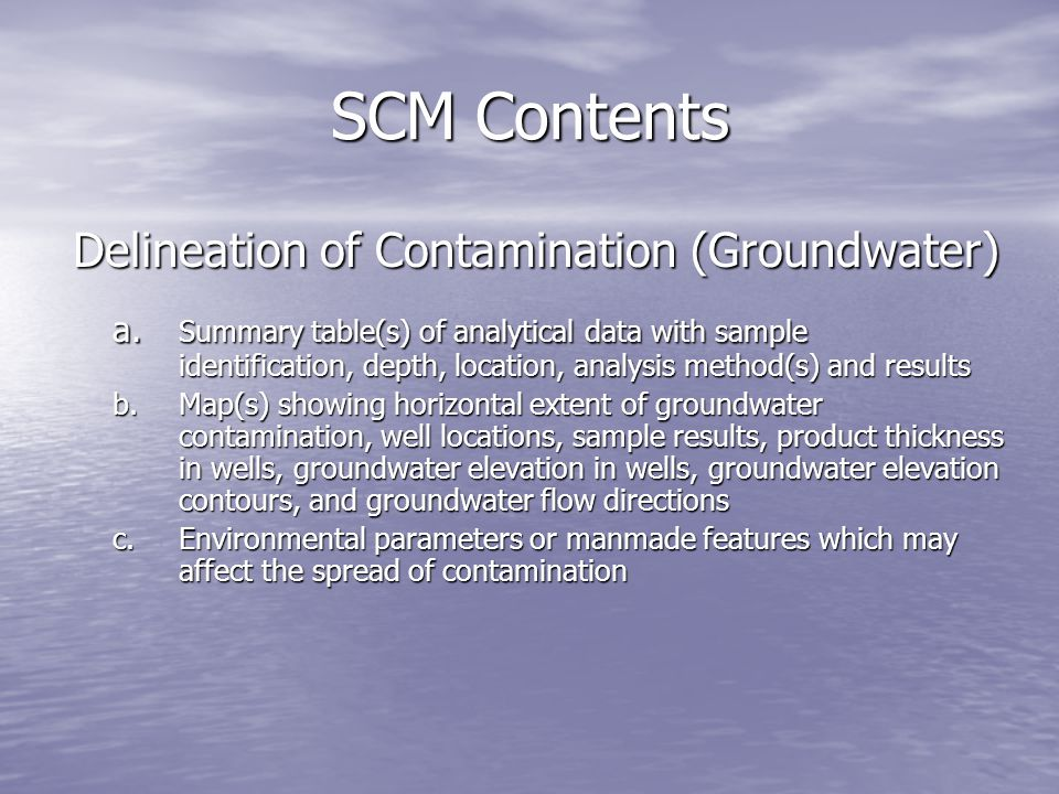 SCM Contents Delineation of Contamination (Groundwater)