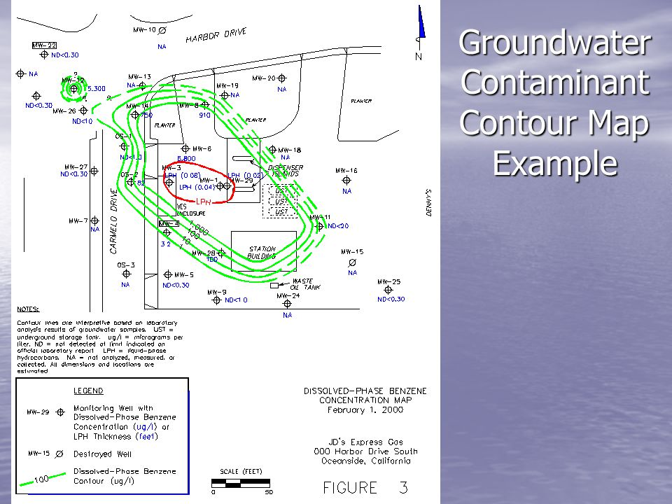 Groundwater Contaminant Contour Map Example