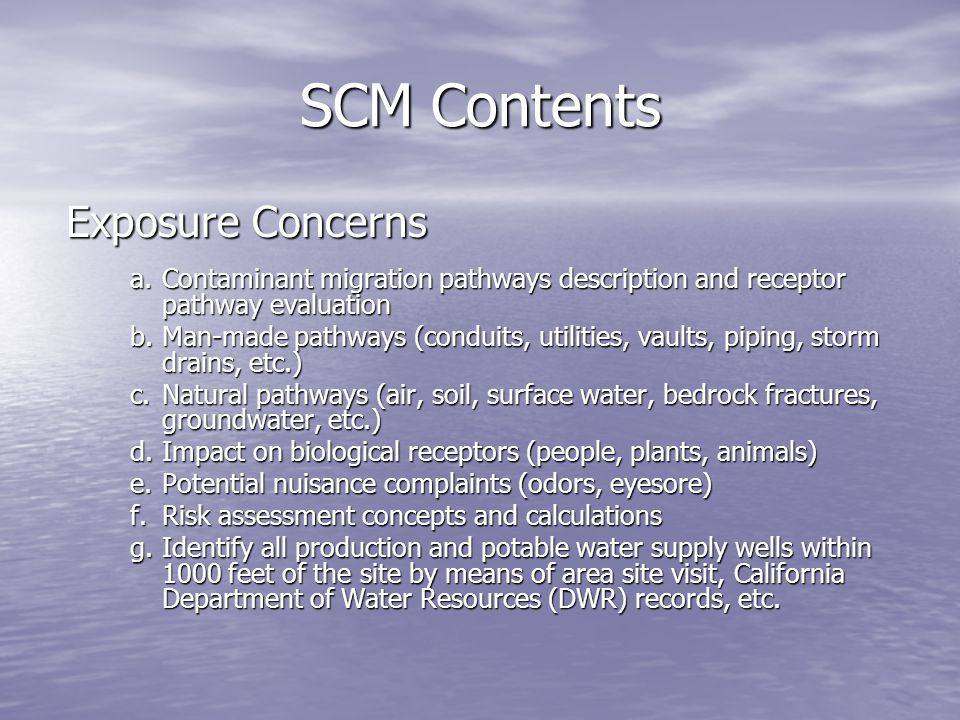 SCM Contents Exposure Concerns