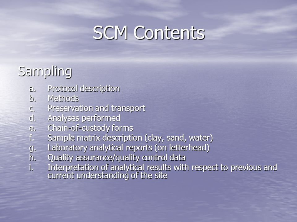 SCM Contents Sampling a. Protocol description b. Methods