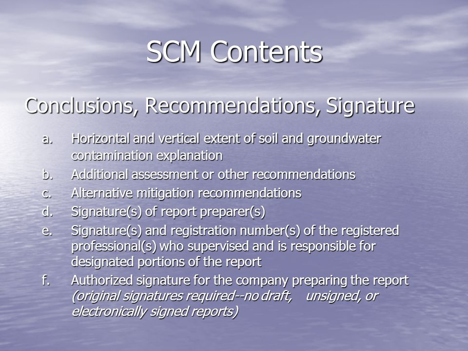 SCM Contents Conclusions, Recommendations, Signature