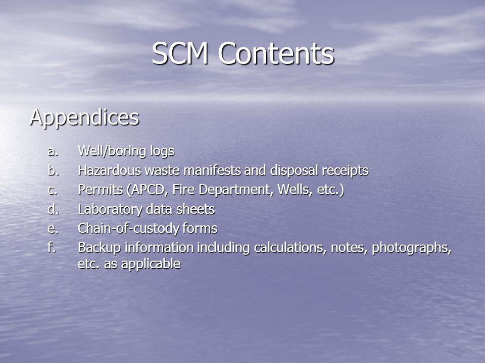 SCM Contents Appendices a. Well/boring logs