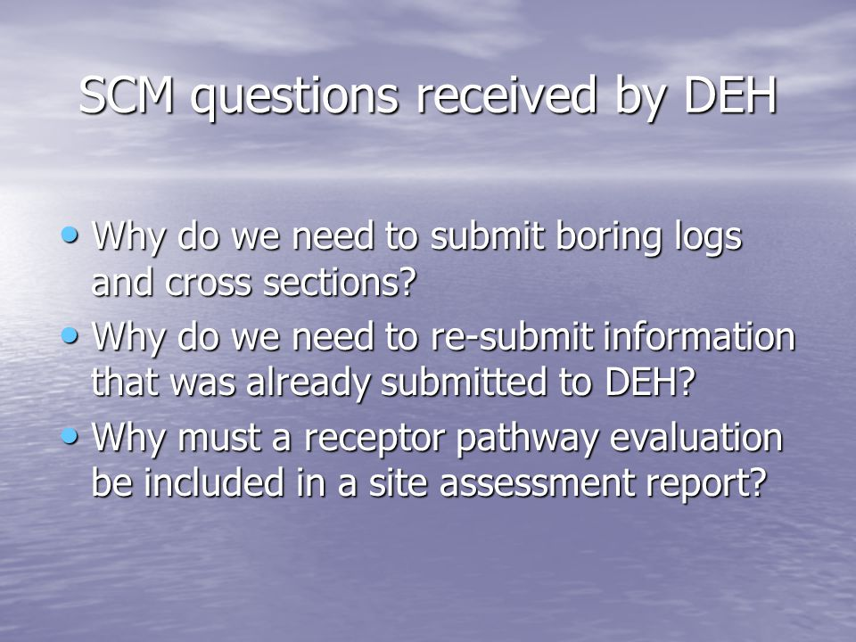SCM questions received by DEH