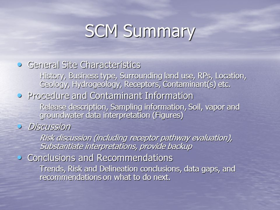 SCM Summary General Site Characteristics