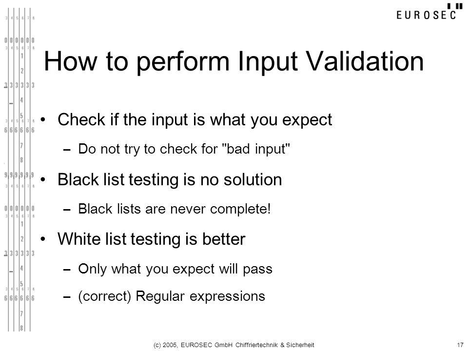 How to perform Input Validation