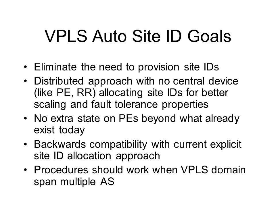 VPLS Auto Site ID Goals Eliminate the need to provision site IDs