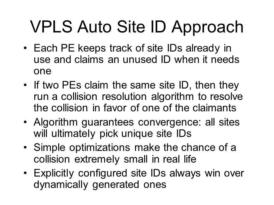 VPLS Auto Site ID Approach
