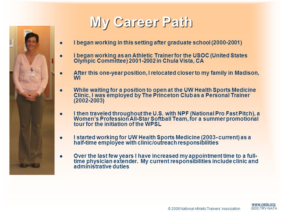 My Career Path I began working in this setting after graduate school (2000-2001)