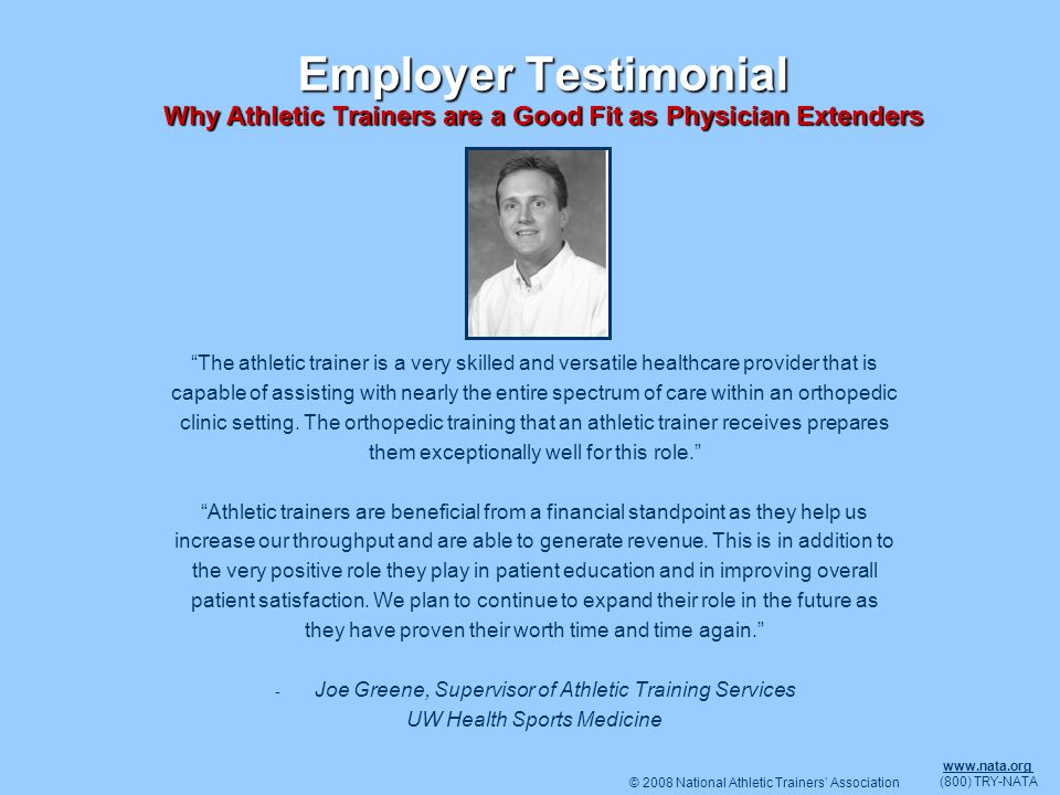 Employer Testimonial Why Athletic Trainers are a Good Fit as Physician Extenders