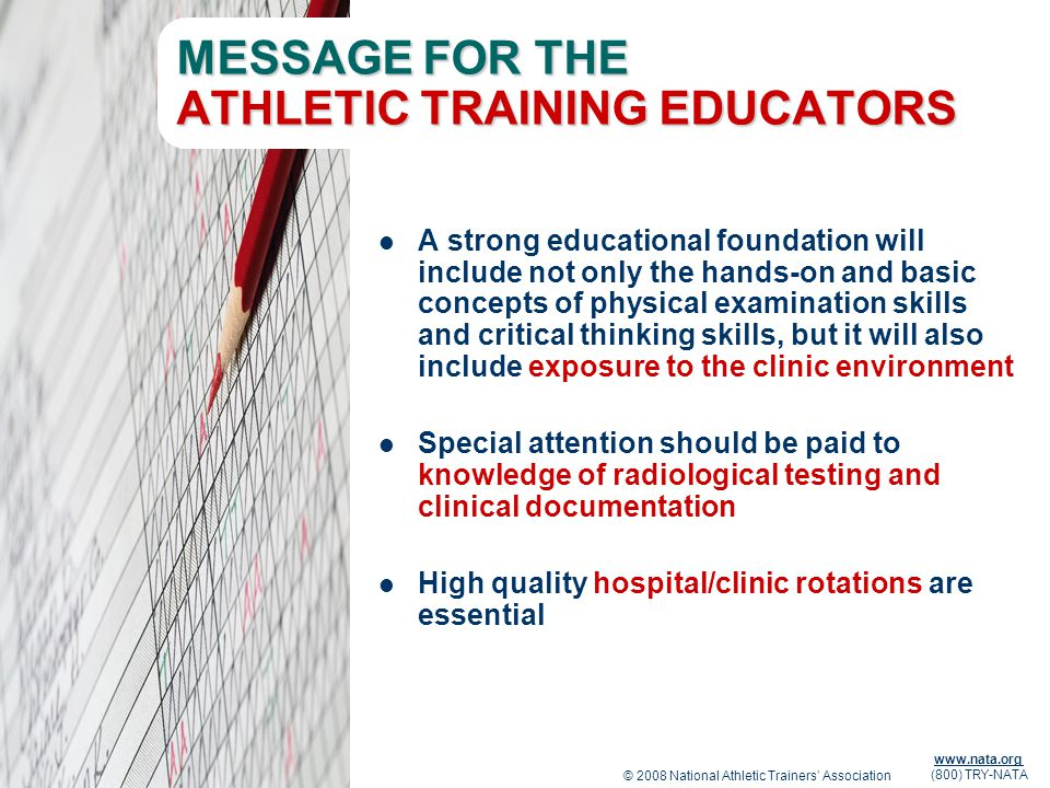 MESSAGE FOR THE ATHLETIC TRAINING EDUCATORS