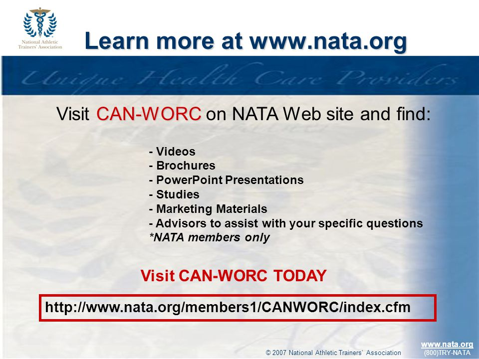 Learn more at www.nata.org