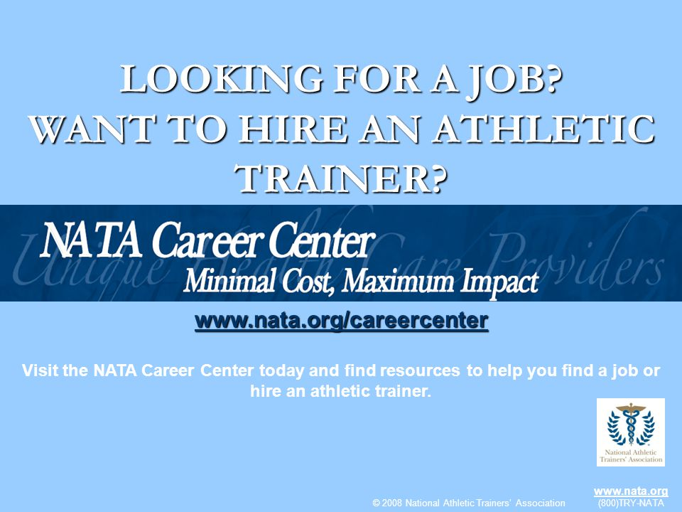 WANT TO HIRE AN ATHLETIC TRAINER