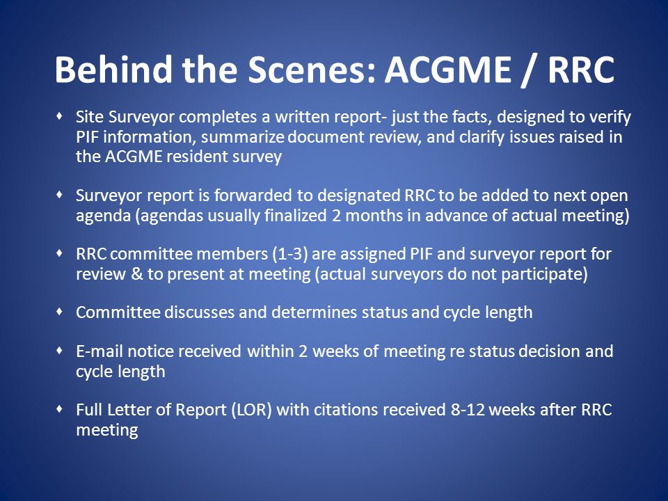 Behind the Scenes: ACGME / RRC