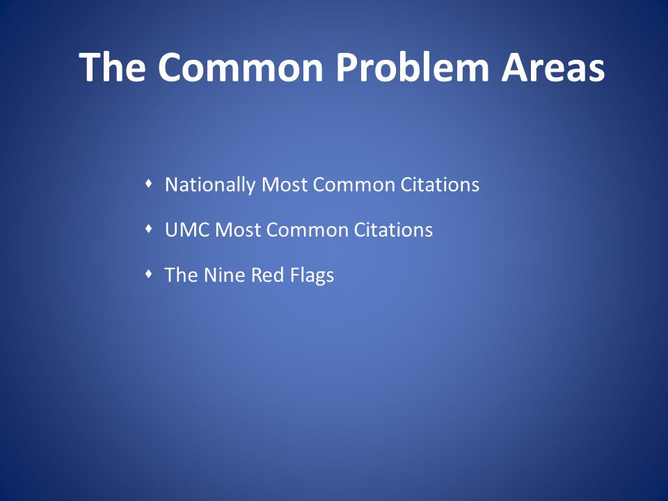 The Common Problem Areas