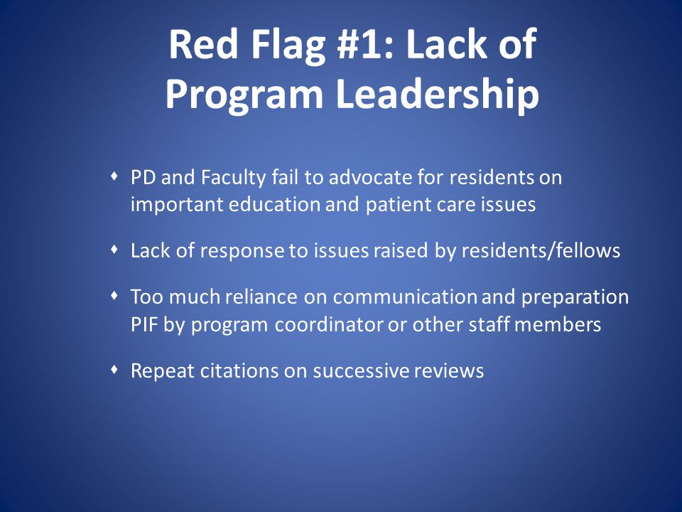 Red Flag #1: Lack of Program Leadership