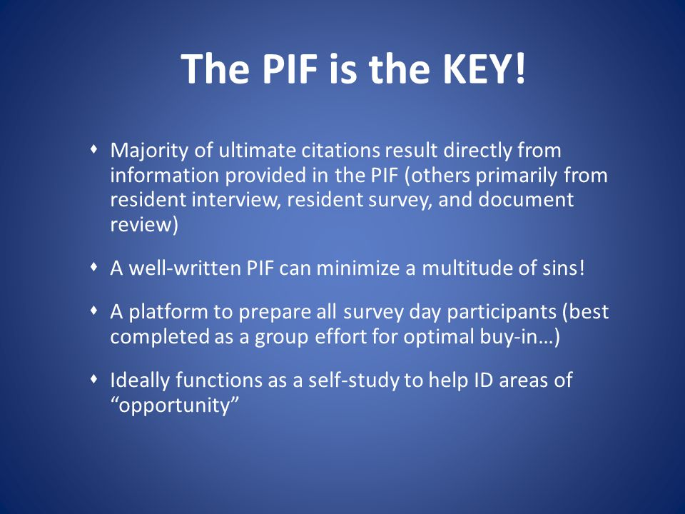 The PIF is the KEY!