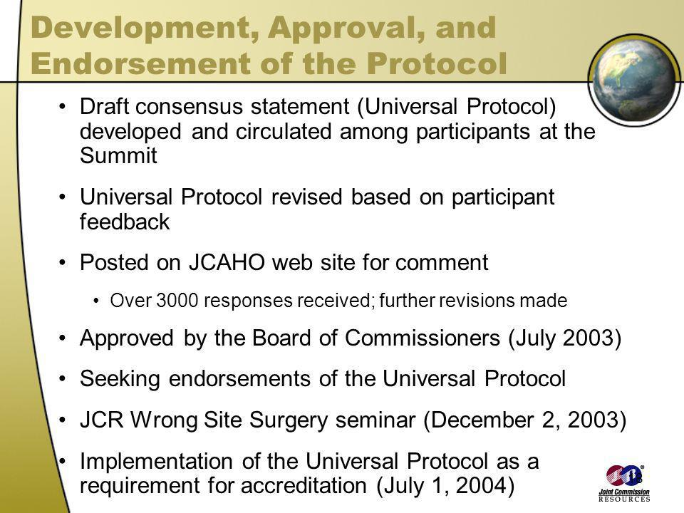 Development, Approval, and Endorsement of the Protocol