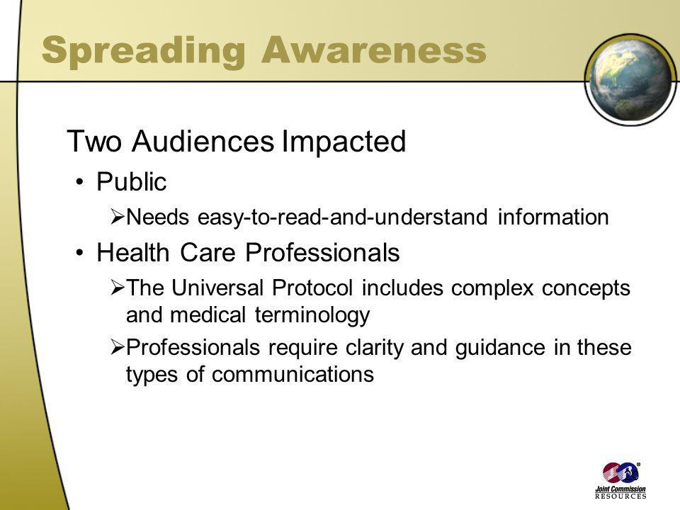 Spreading Awareness Two Audiences Impacted Public