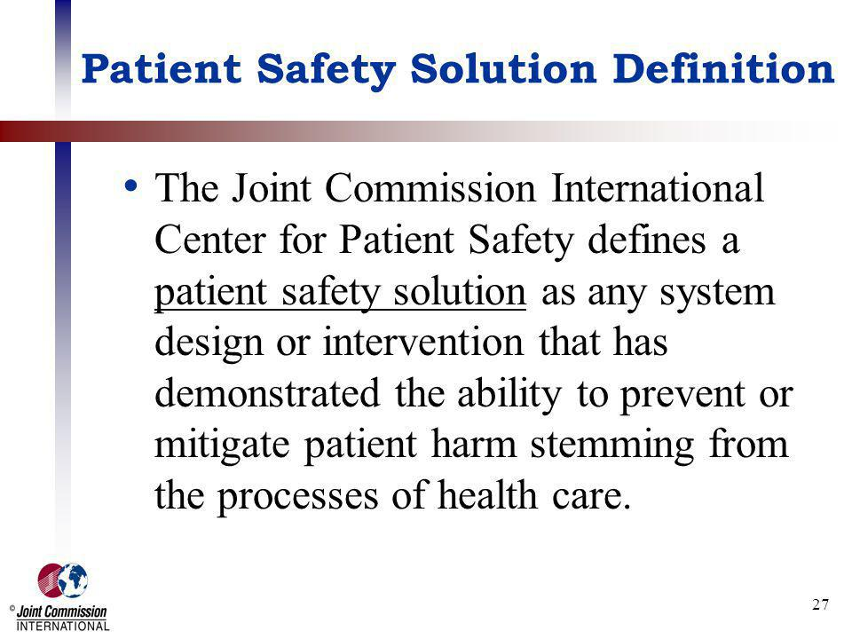 Patient Safety Solution Definition