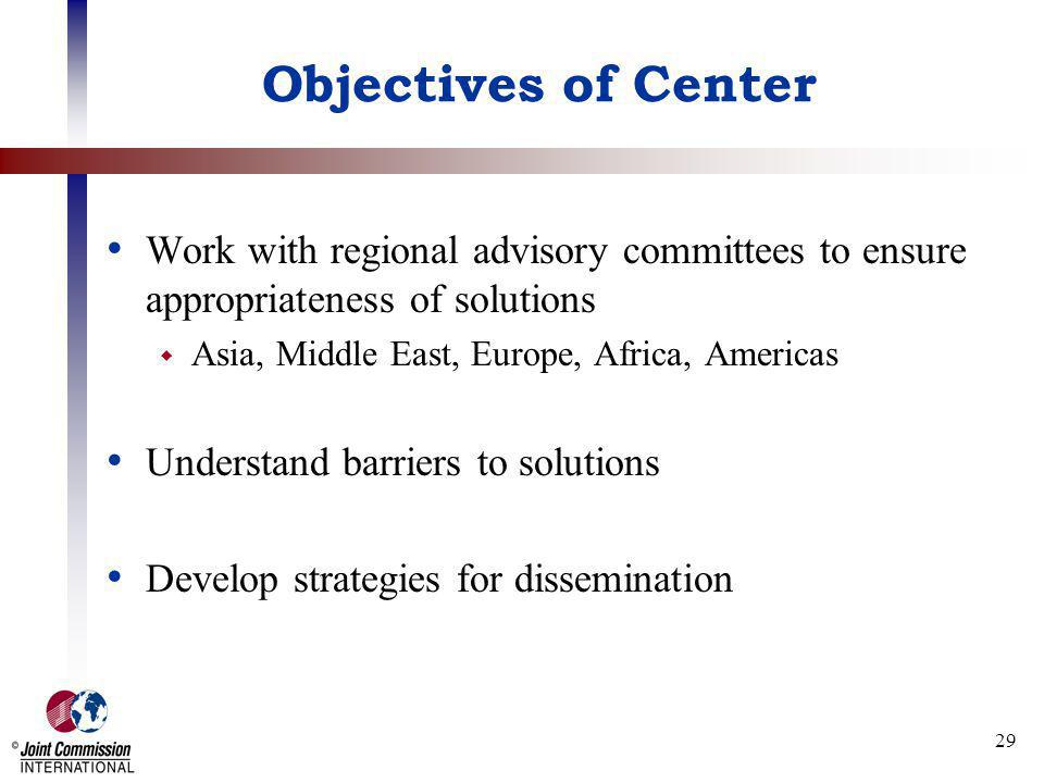 Objectives of Center Work with regional advisory committees to ensure appropriateness of solutions.