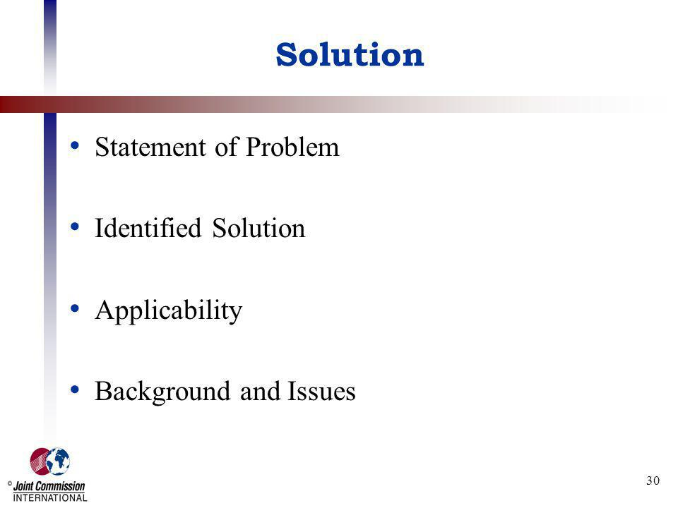 Solution Statement of Problem Identified Solution Applicability