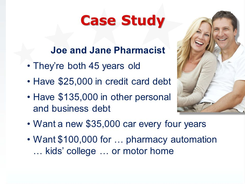 Case Study Joe and Jane Pharmacist They're both 45 years old