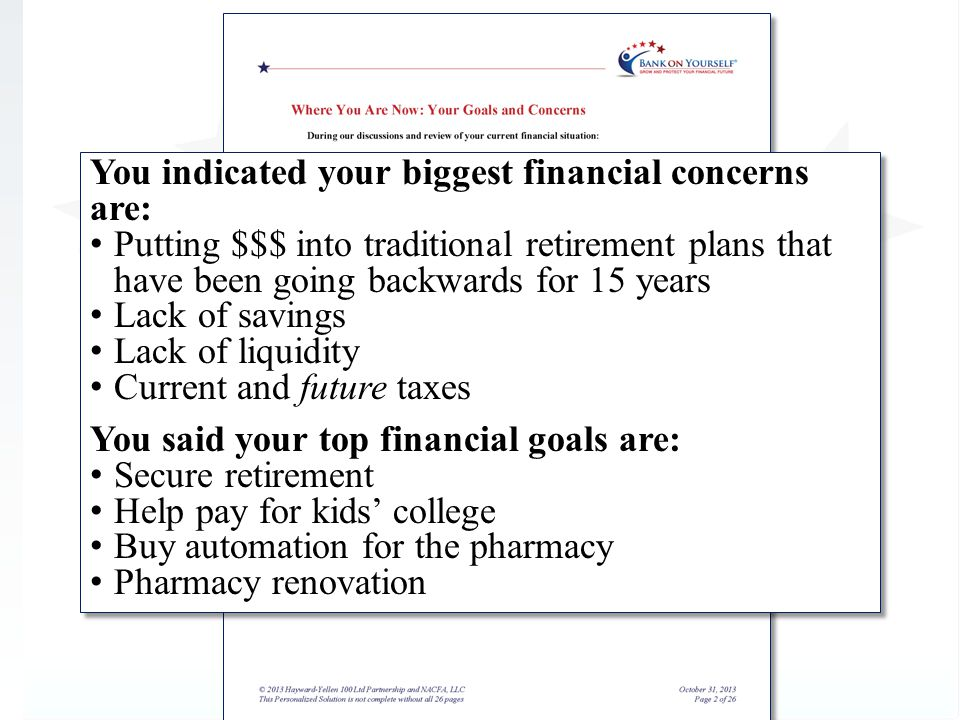 You indicated your biggest financial concerns are: