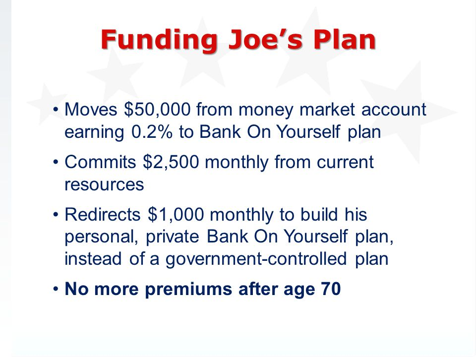 3/31/2017 Funding Joe's Plan. Moves $50,000 from money market account earning 0.2% to Bank On Yourself plan.