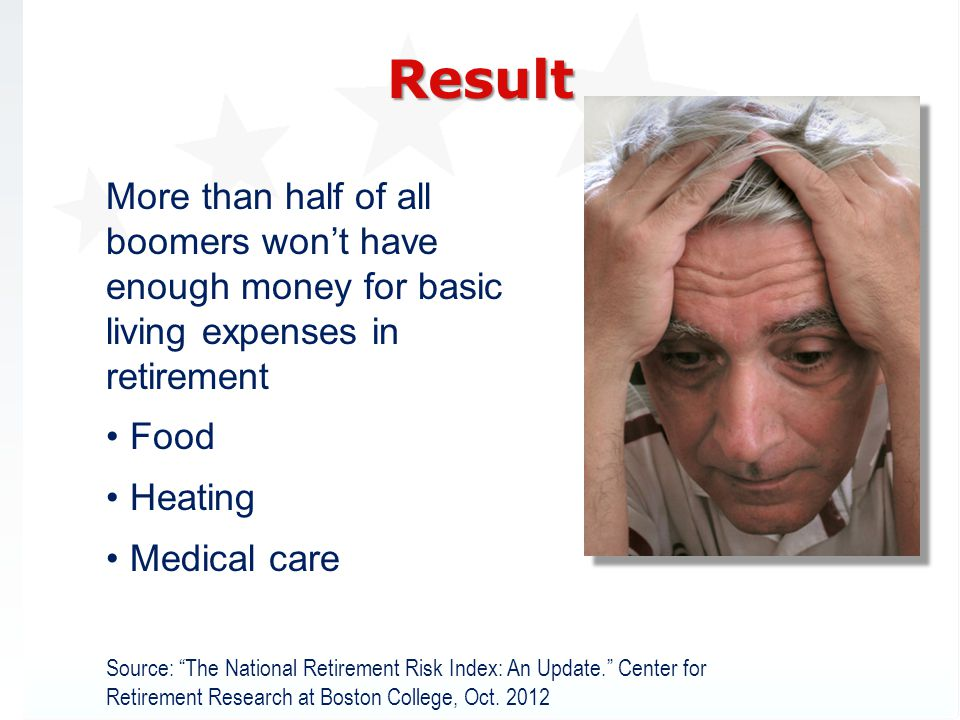 3/31/2017 Result. More than half of all boomers won't have enough money for basic living expenses in retirement.