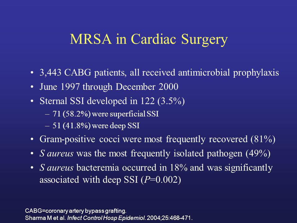 MRSA in Cardiac Surgery