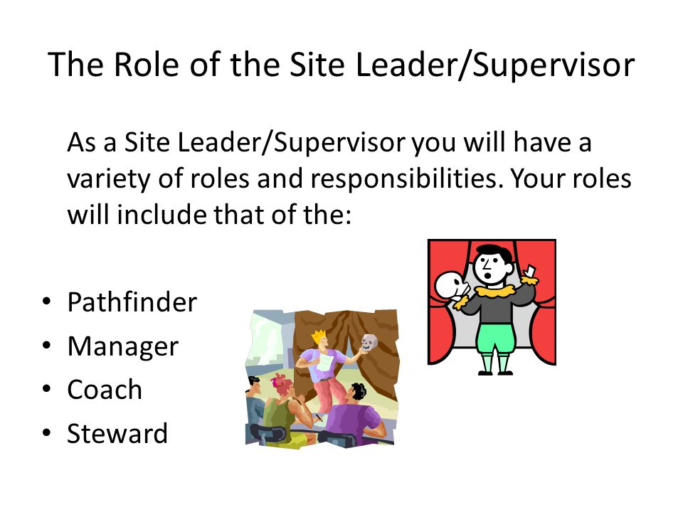 The Role of the Site Leader/Supervisor