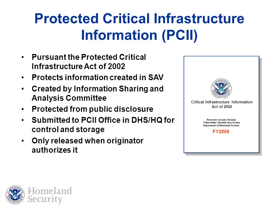 Protected Critical Infrastructure Information (PCII)