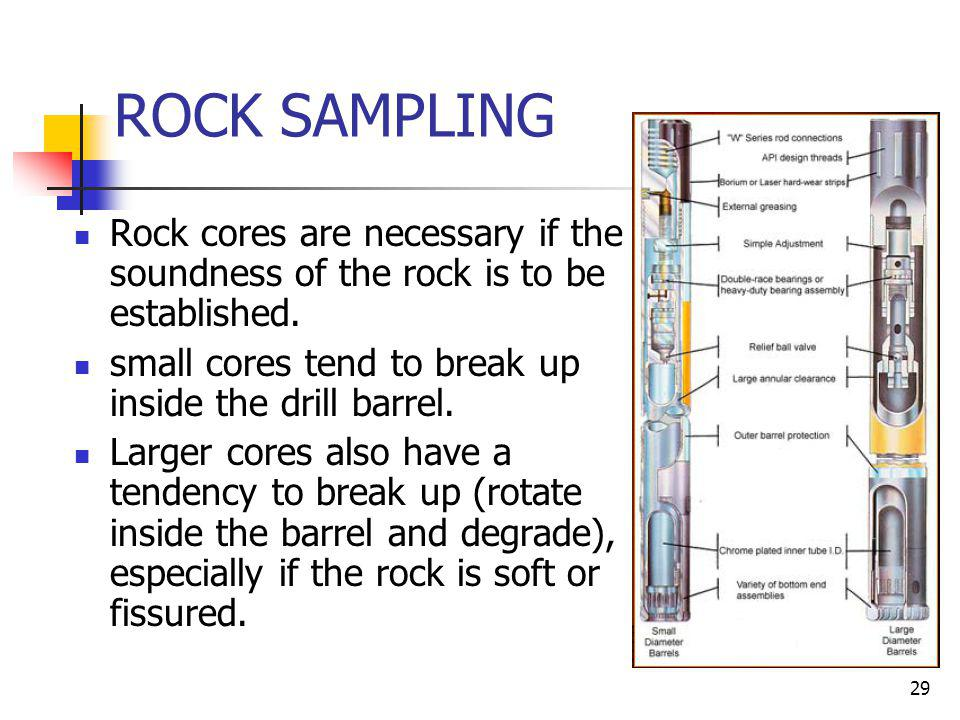 ROCK SAMPLING Rock cores are necessary if the soundness of the rock is to be established. small cores tend to break up inside the drill barrel.