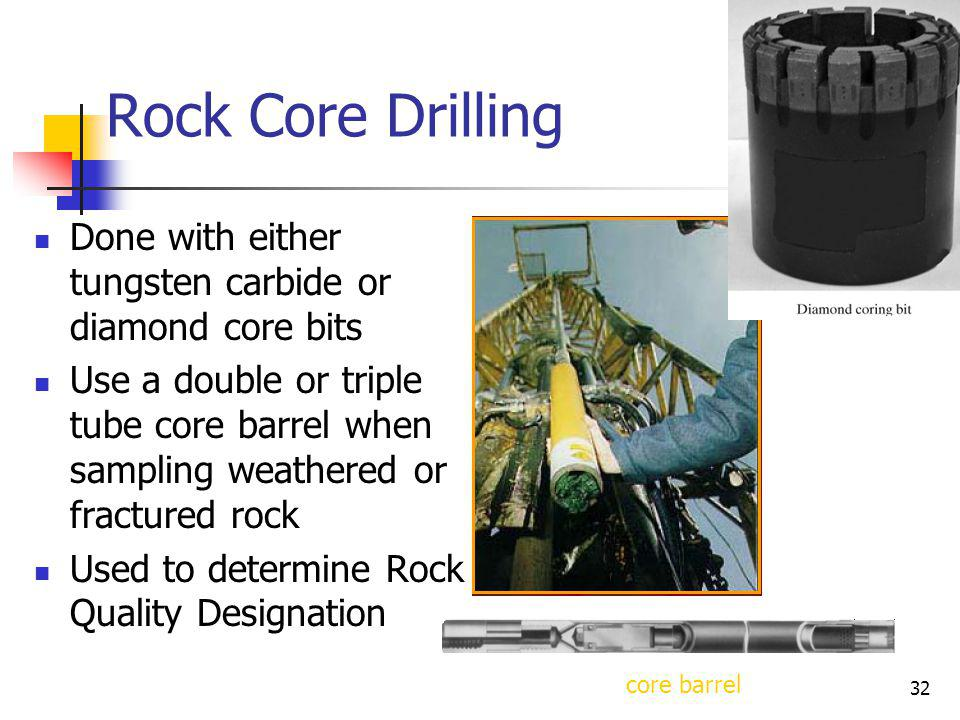 Rock Core Drilling Done with either tungsten carbide or diamond core bits.