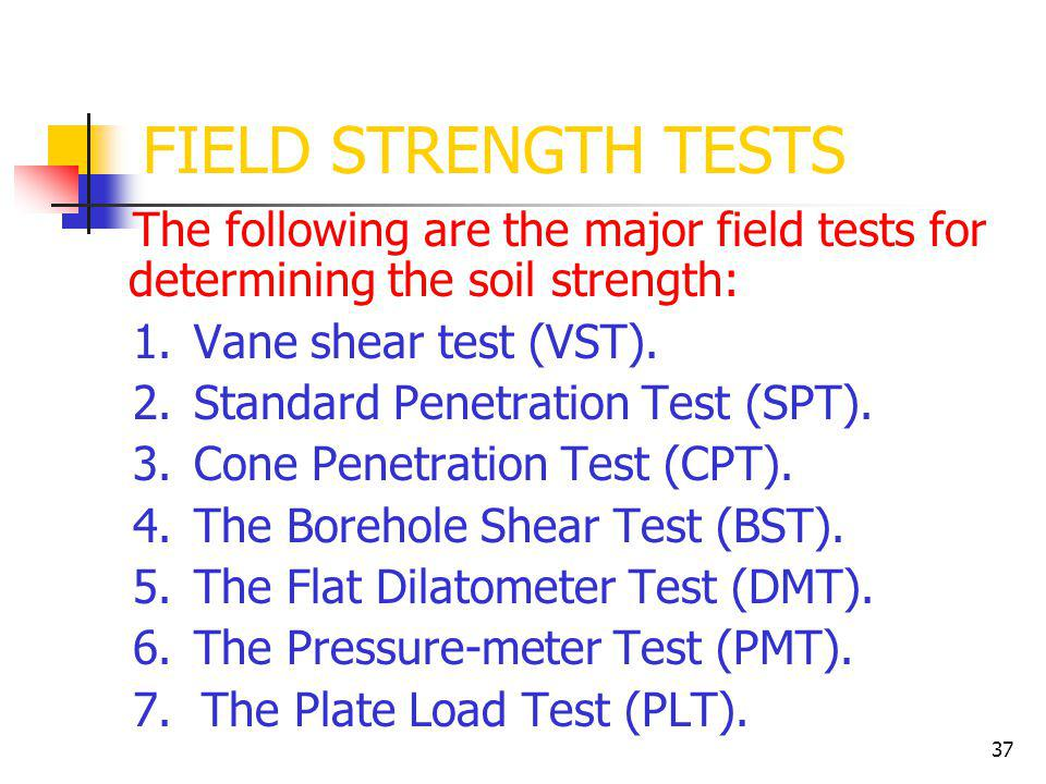 FIELD STRENGTH TESTS The following are the major field tests for determining the soil strength: 1. Vane shear test (VST).