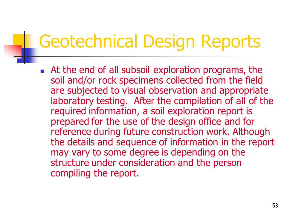 Geotechnical Design Reports