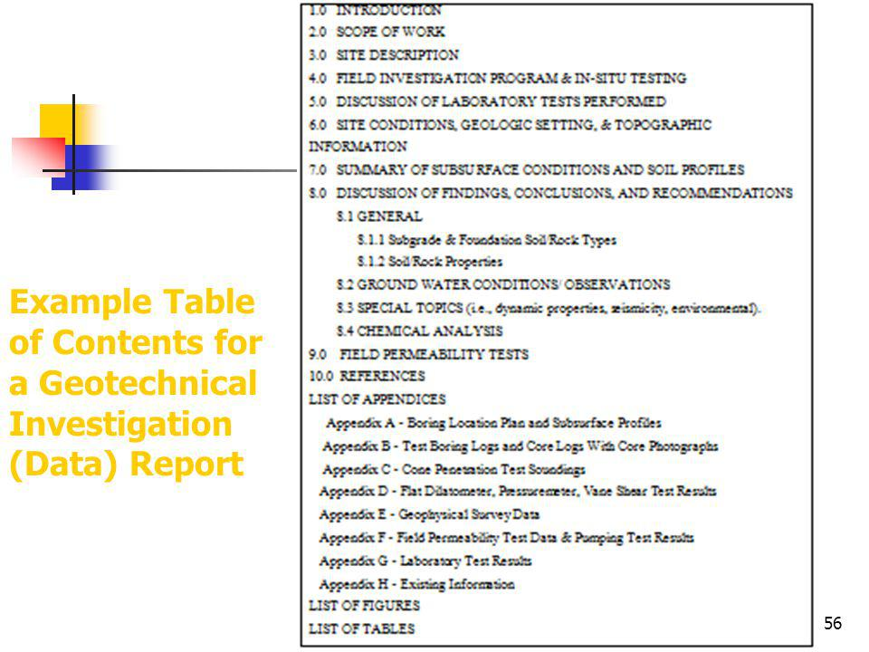 Example Table of Contents for a Geotechnical Investigation (Data) Report