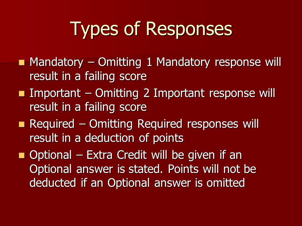 Types of Responses Mandatory – Omitting 1 Mandatory response will result in a failing score.