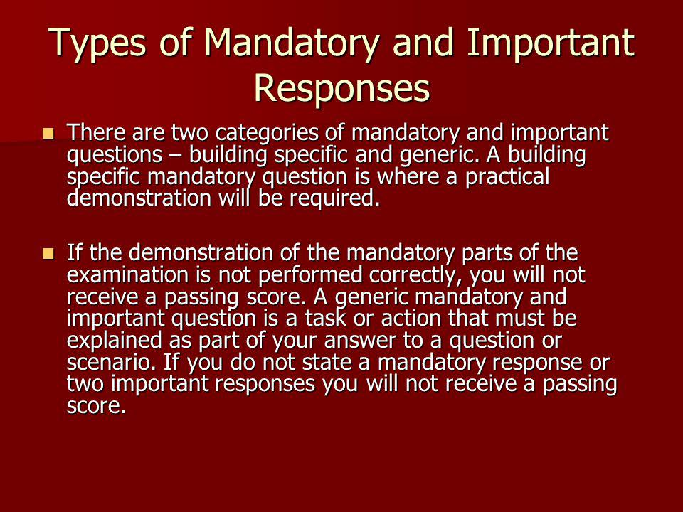 Types of Mandatory and Important Responses