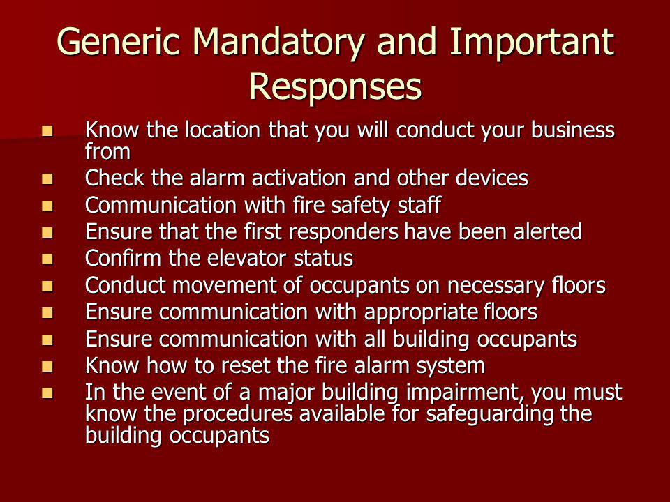 Generic Mandatory and Important Responses