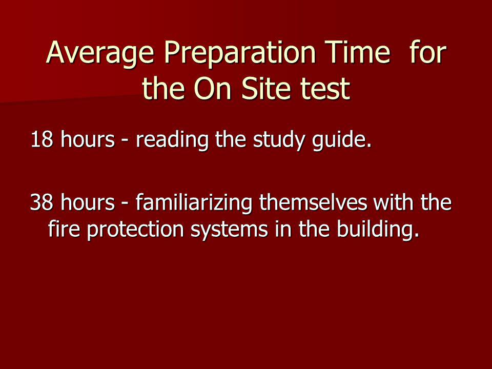 Average Preparation Time for the On Site test
