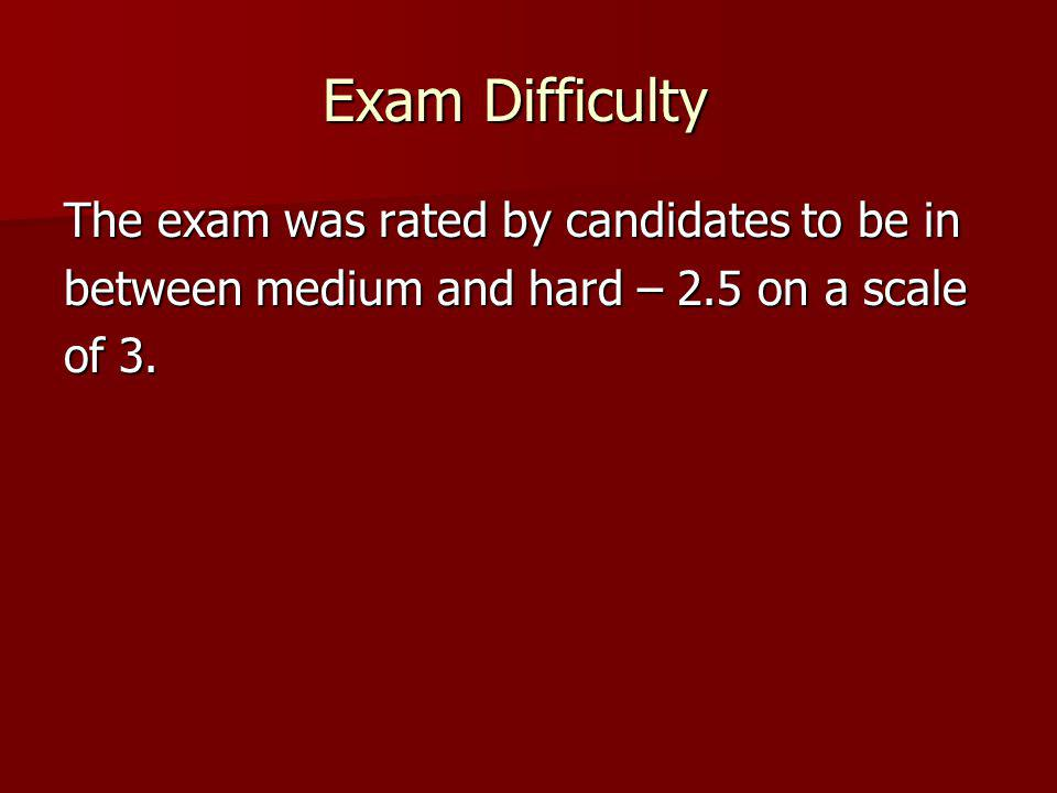 Exam Difficulty The exam was rated by candidates to be in
