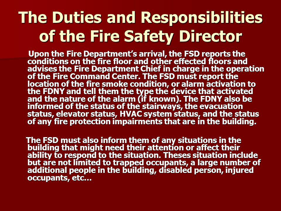 The Duties and Responsibilities of the Fire Safety Director