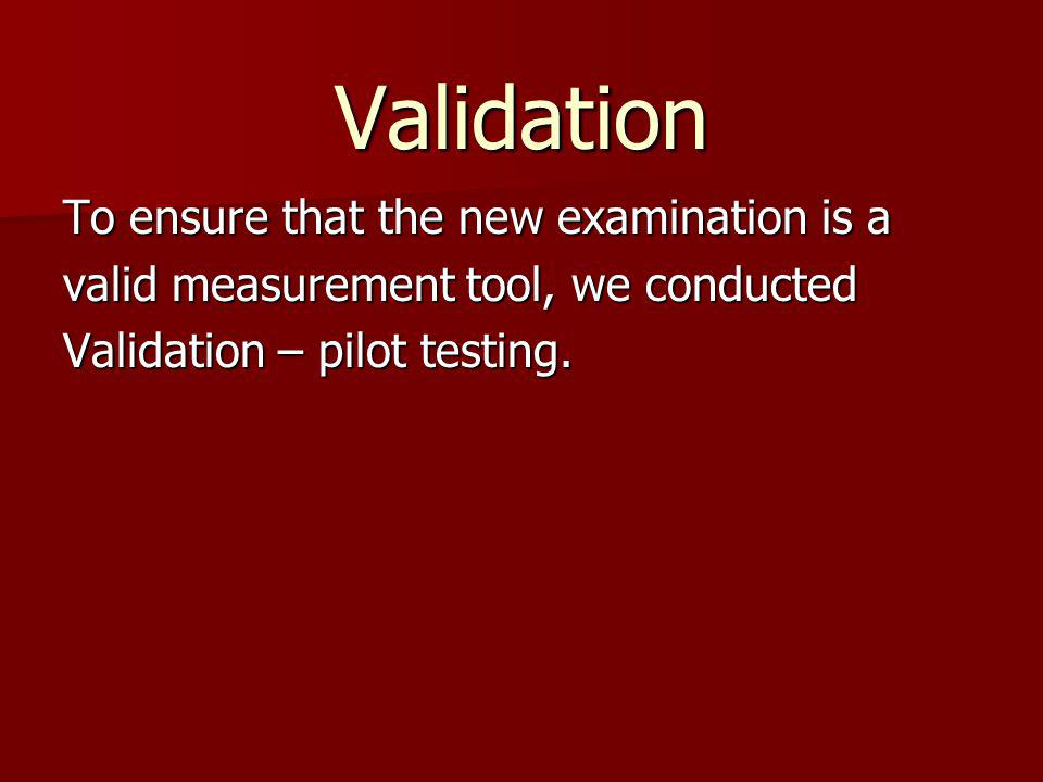 Validation To ensure that the new examination is a