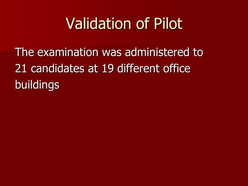 Validation of Pilot The examination was administered to