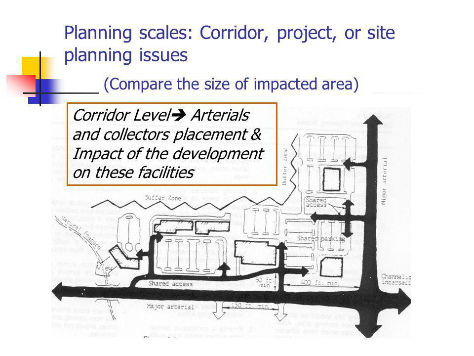 Planning scales: Corridor, project, or site planning issues