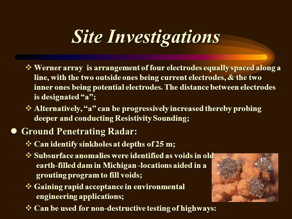 Site Investigations Ground Penetrating Radar: