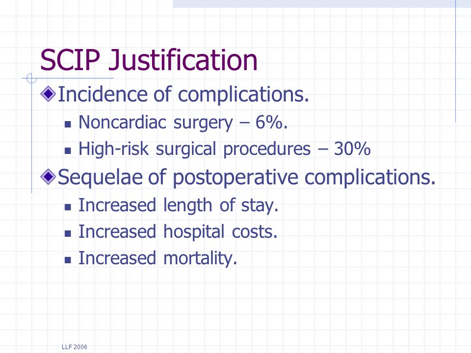 SCIP Justification Incidence of complications.