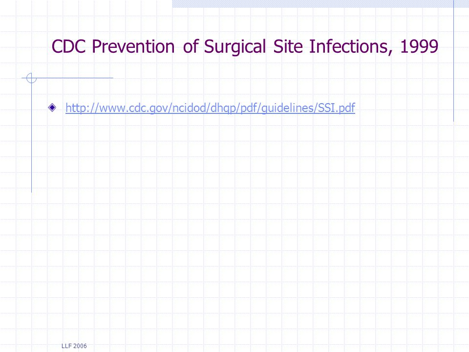 CDC Prevention of Surgical Site Infections, 1999